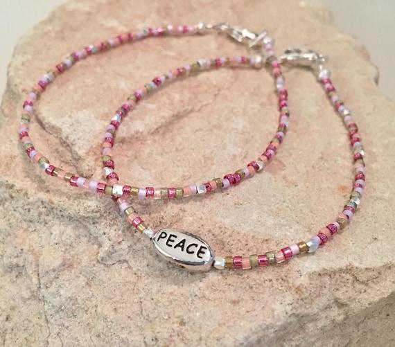 Pink seed bead bracelet, message bracelets, Peace word bead bracelet, Hill Tribe silver bracelets, boho bracelets, dainty bracelets