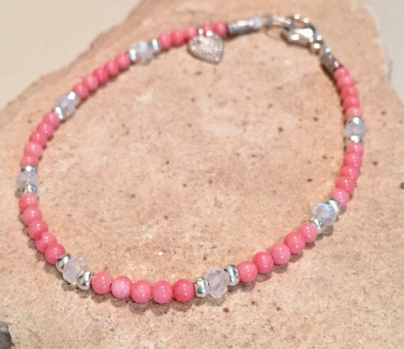 Pink bracelet, coral bracelet, moonstone bracelet, Hill Tribe silver bracelet, heart charm, charm bracelet, sundance bracelet, gift for her