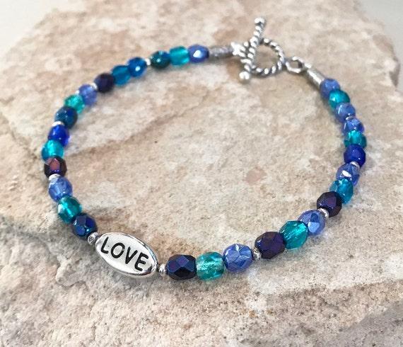 Blue and green bracelet, Czech glass bead bracelet, message bracelet, charm bracelet, Hill Tribe silver bracelet, love charm, boho chic