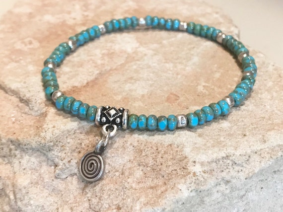 Blue bracelet, Czech glass bead bracelet, Hill Tribe silver bracelet, elastic bracelet, boho bracelet, stretch bracelet, gift for her