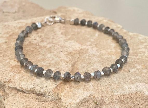 Labradorite bracelet, gemstone bracelet, gray bracelet, natural bracelet, Hill Tribe silver bracelet, gift for her, statement bracelet
