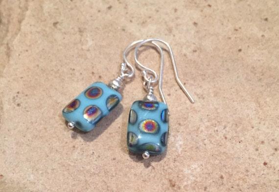 Pretty blue drop earrings, Czech bead earrings, dangle earrings, Hill Tribe silver earrings, drop earrings, boho style earrings gift for her
