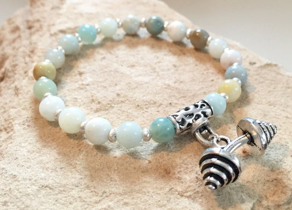 Green bracelet, bracelet for athelete, gift for athlete, amazonite bracelet, Hill Tribe silver bracelet, charm bracelet, stretch bracelet