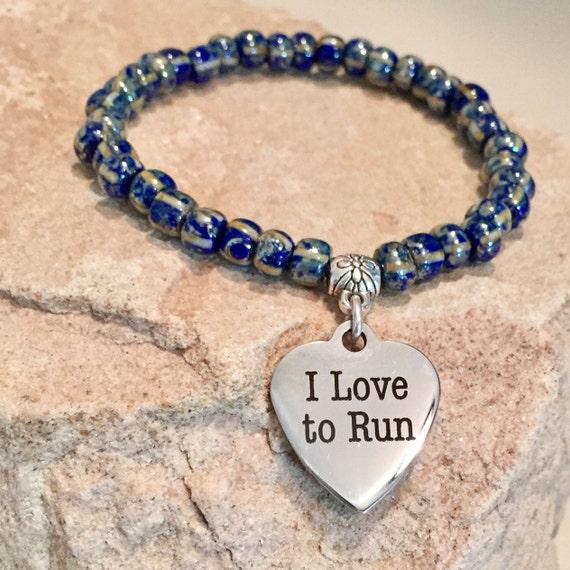 Blue bracelet, Czech Picasso glass bead bracelet, charm bracelet, bracelet for athletes, runner bracelet, stretch bracelet, elastic bracelet