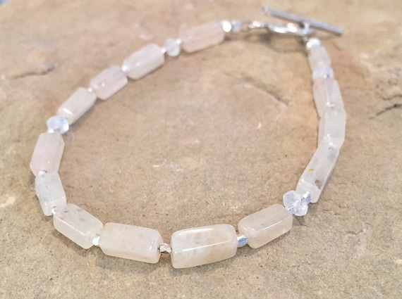 Yellow bracelet, citrine gemstone bracelet, rectangle bead bracelet, moonstone bracelet, Hill Tribe silver bracelet, unique bracelet