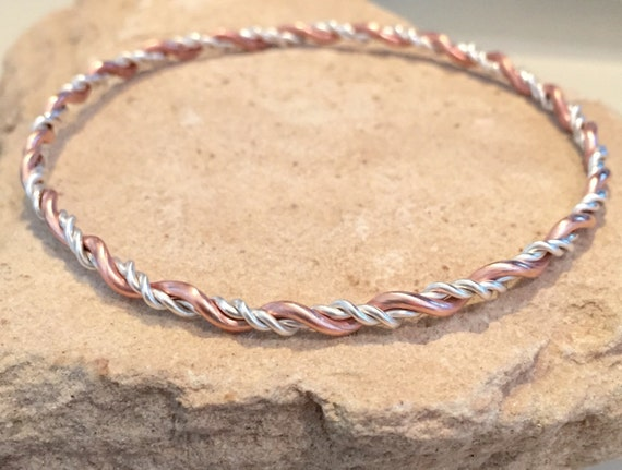 Sterling silver and copper bangle bracelet, twisted bangle bracelet, stackable silver and copper bracelet, stackable bangle, gift for her