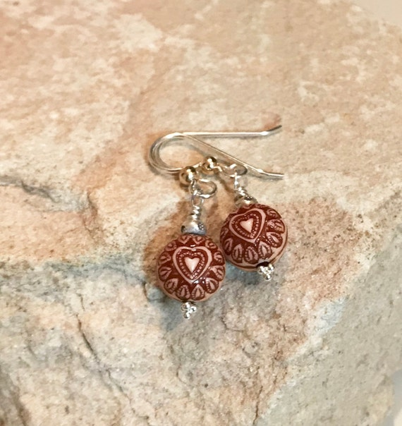 Brown drop earrings, dangle earrings, silver dangle earrings, Hill Tribe silver earrings, everyday earrings, gift for her, heart earrings