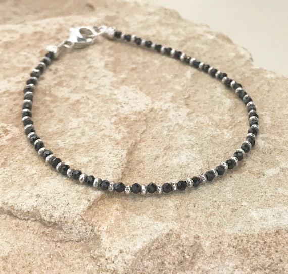 Black bracelet, spinel bracelet, sterling silver bracelet, Hill Tribe silver bracelet, single strand bracelet, gift for her, boho chic