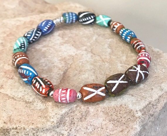 Multicolored bracelet, clay bead bracelet, sterling silver bracelet, elastic bracelet, stretch bracelet, chunky bracelet, colorful bracelet
