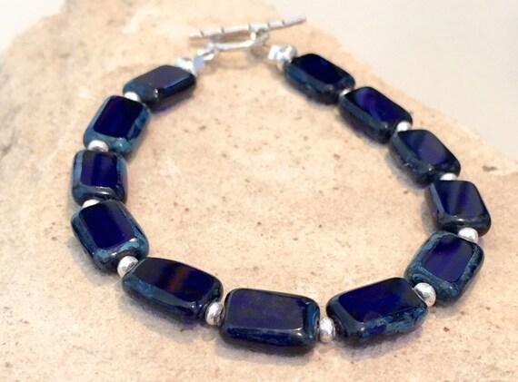 Cobalt blue bracelet, Czech glass bead bracelet, Hill Tribe silver bracelet, unique bracelet, everyday jewelry, gift for her, gift for wife