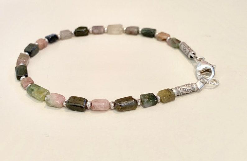tourmaline bracelet Multicolored bracelet gift for her everyday casual bracelet Hill Tribe silver bracelet sterling silver bracelet