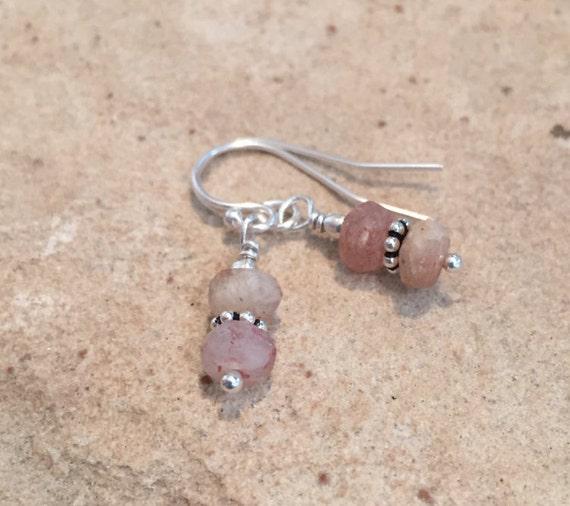 Beautiful pink drop earrings, sundance earrings, sunstone earrings, Hill Tribe silver earrings, silver drop earrings, dangle earrings, gift