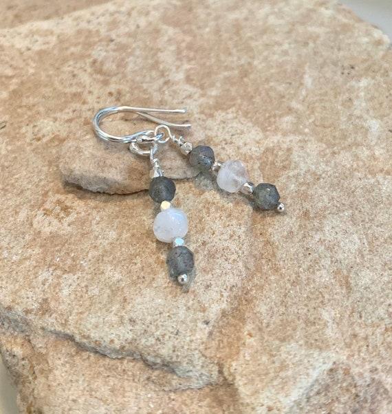Pretty gray drop earrings, moonstone earrings, labradorite earrings, sterling silver drop earrings, dangle earrings, sundance earrings