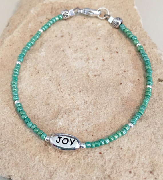Green seed bead bracelet, message bracelet, joy message bead, sterling silver bracelet, charm bracelet, dainty bracelet, gift for her