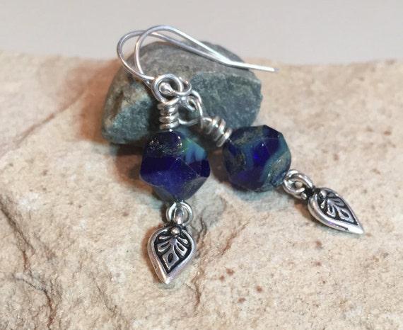 Blue drop earrings, blue dangle earrings, Czech glass bead nugget earrings, sundance earrings, sterling silver drop earrings, gift for her