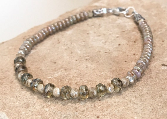 Green and ivory bracelet, Czech glass bead bracelet, Hill Tribe silver bracelet, boho bracelet, single strand bracelet, gift for her