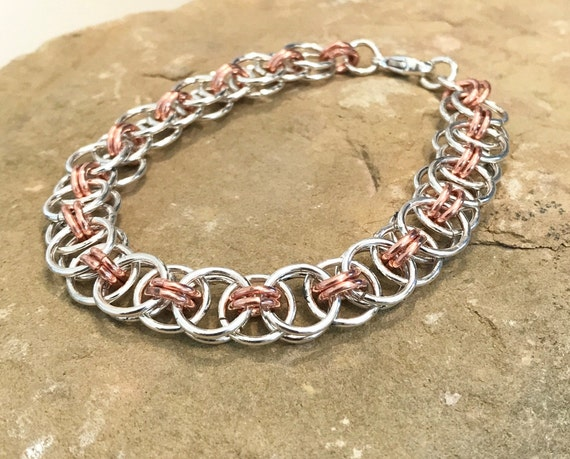 Sterling silver and copper chain maille bracelet, parallel chain maille bracelet, stackable sterling silver bracelet, chain bracelet