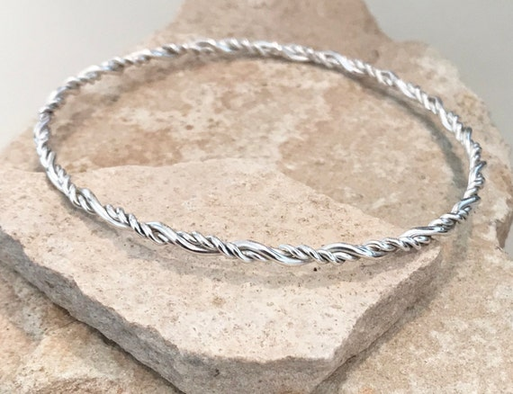 Twisted sterling silver bangle bracelet, twisted bangle bracelet, stackable silver bracelet, stackable bangle, gift for her, gift for wife