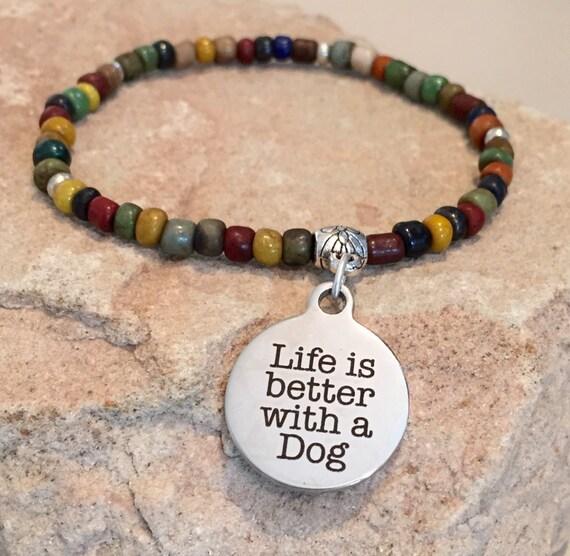 Multicolored bracelet, seed beads bracelet, silver bracelet, dog lover bracelet, charm bracelet, stretch bracelet, elastic bracelet