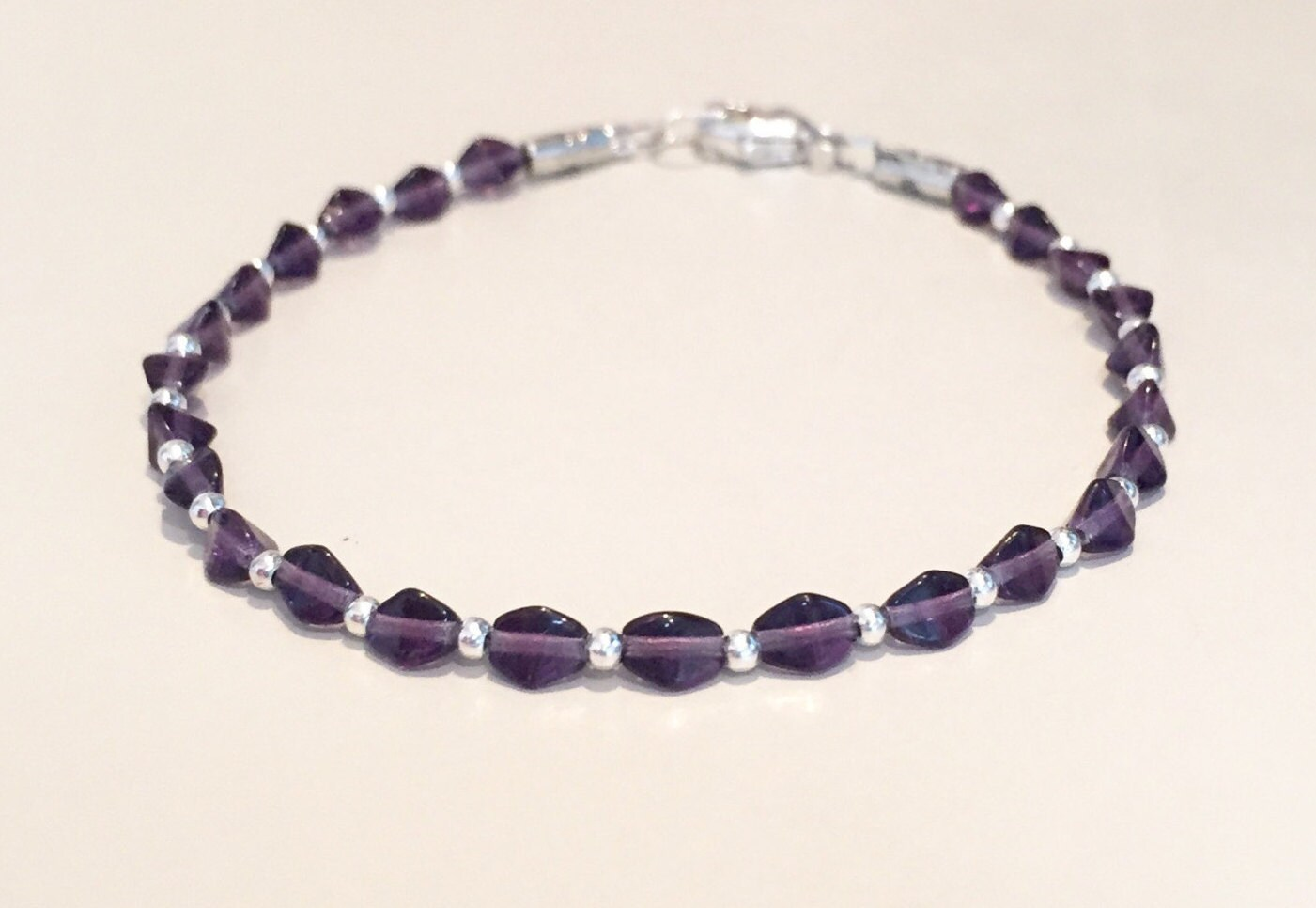 Purple Czech Glass Bracelet Purple Handmade BraceletSpring JewelrySummer Glass JeverlyPurple Czech Glass Bracelet