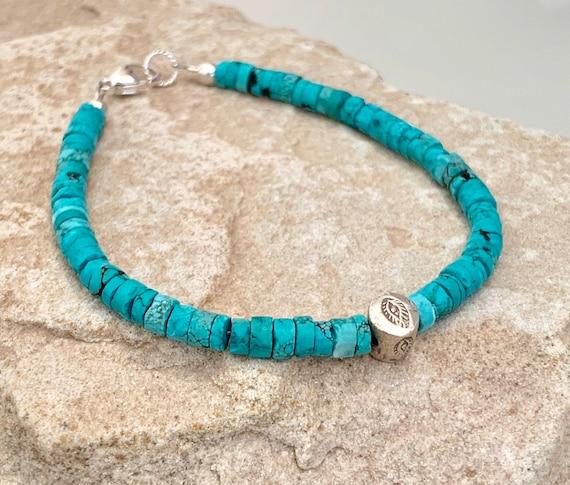Turquoise bracelet, blue bracelet, unique bracelet, Hill Tribe silver bracelet, everyday bracelet, dainty bracelet, boho chic bracelet