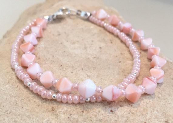 Pink/peach bracelet, Czech glass seed bead bracelet, double strand bracelet, sterling silver bracelet, sundance bracelet, boho bracelet