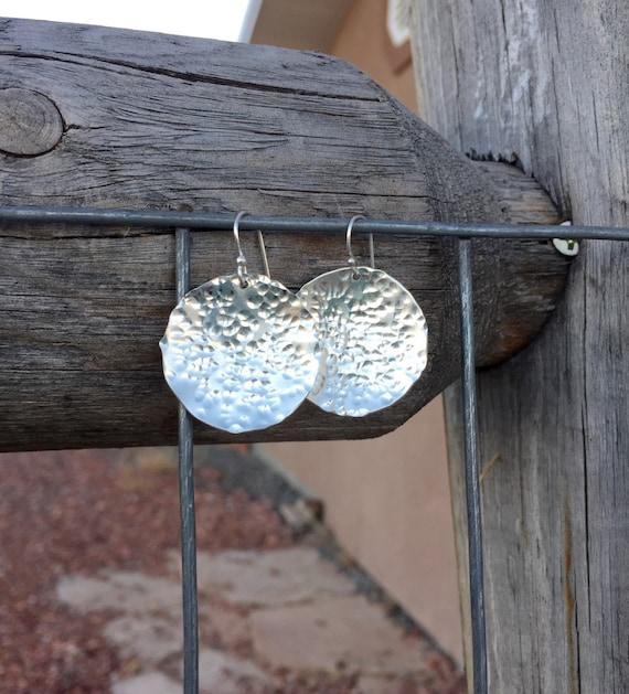 Large hammered sterling silver drop/dangle earrings, handmade sterling silver earrings, silver dangle earrings, silver drop earrings