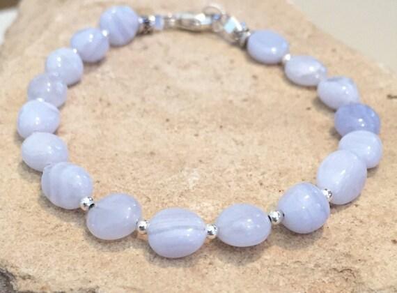 Blue bracelet, agate bracelet, sterling silver bracelet, chunky bracelet, stacking bracelet, sundance bracelet, gift for her, boho chic