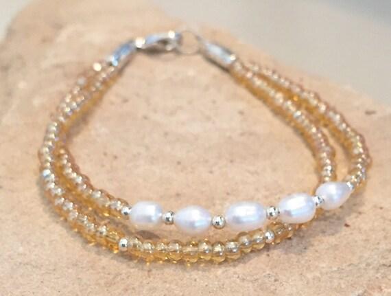 Pearl bracelet, yellow seed bead bracelet, sterling silver bracelet, sundance bracelet, double strand bracelet, gift for her, boho chic