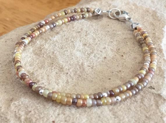 Amber double strand seed bead bracelet, sterling silver bracelet, fall bracelet, minimalist bracelet, boho bracelet, gift for her, boho chic