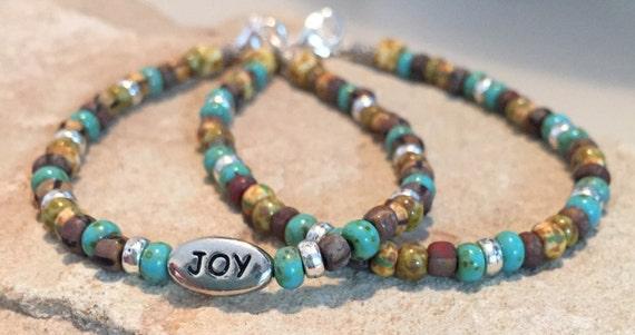 Multicolored bracelet, message bracelet, charm bracelet, Czech glass beads, Hill Tribe bracelet, boho bracelet, gift for her, boho chic