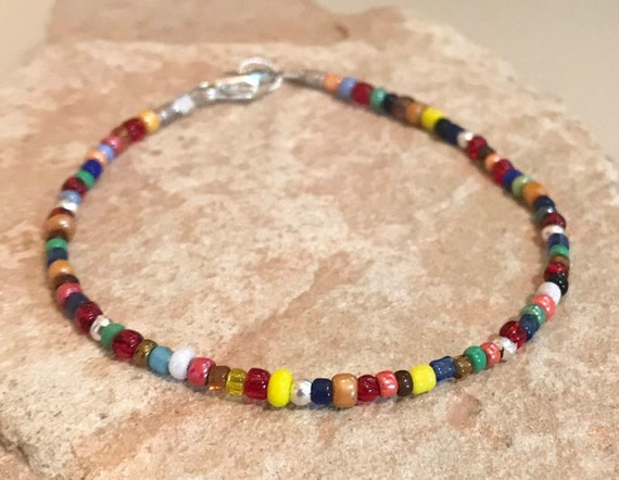 Multicolored seed bead bracelet, colorful bracelet, sterling silver bracelet everyday bracelet, boho bracelet, gift for her, boho chic