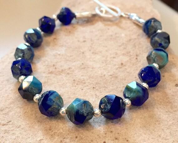 Blue bracelet, chunky bracelet, statement bracelet, Czech glass bead nuggets, sterling silver bracelet, sundance bracelet, gift for her