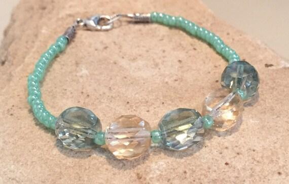 Green bracelet, Toho seed bead bracelet, Czech glass bead bracelet, Hill Tribe silver bracelet, chunky bracelet, gift for her, gift for wife