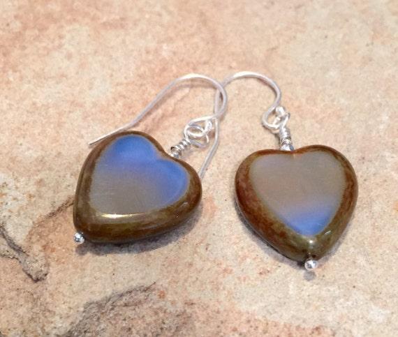 Blue heart shaped drop earrings, Czech glass bead earrings, sterling silver drop earrings, blue dangle earrings, gift for wife, boho chic