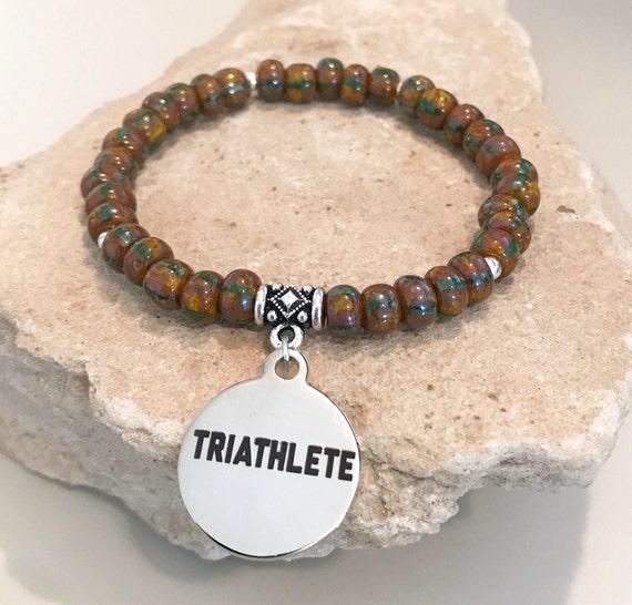 Brown bracelet, charm bracelet, bracelet for triathlete, bracelet for athlete, gift for athlete, stretch bracelet, gift for runner