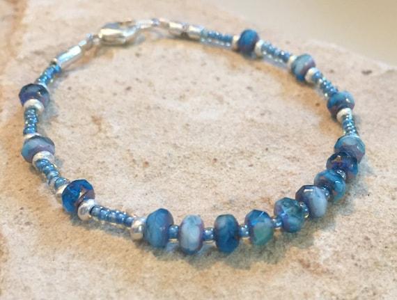 Blue bracelet, Czech glass bead bracelet, Hill Tribe silver bracelet, sundance bracelet, minimalist bracelet, fall bracelet, boho chic