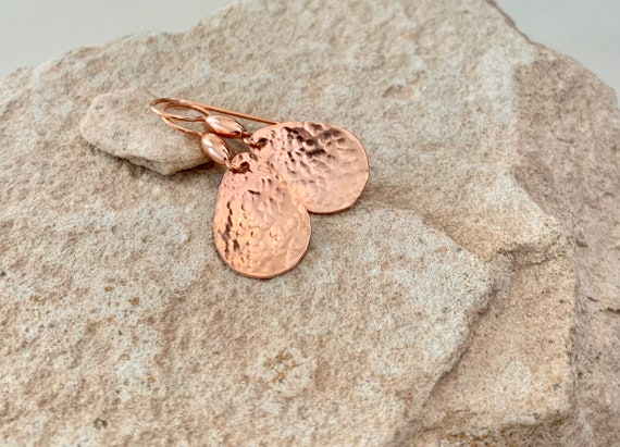 Copper handmade drop earrings, dangle earrings, copper dangle earrings with copper ear wires, gift for her, teardrop earrings, gift for wife