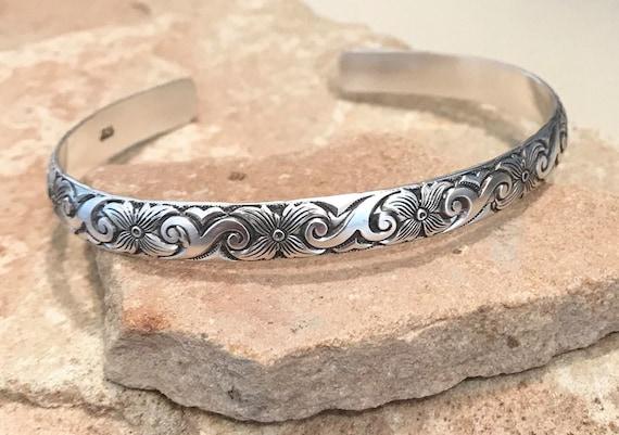Sterling silver cuff bracelet, pattern cuff bracelet, stackable sterling silver bracelet, sterling silver cuff, patina cuff bracelet