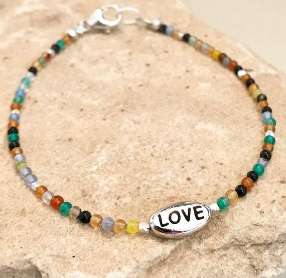 Multicolored bracelet, gemstone bracelet, message bracelet, Hill Tribe silver bracelet, natural bracelet, Love bracelet, dainty bracelet