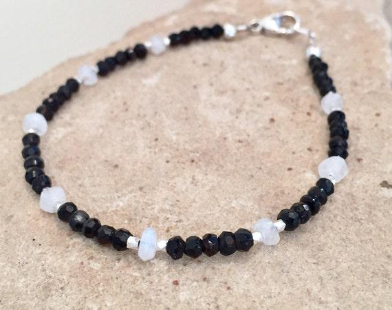 Black bracelet, spinel bracelet, moonstone bracelet, Hill Tribe silver bracelet, stackable bracelet, boho bracelet, everyday bracelet