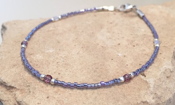 Purple ankle bracelet, seed bead anklet, fire-polished crystal bead anklet, sterling silver anklet, body jewelry, boho anklet, gift for her