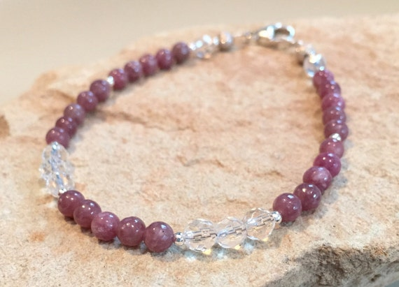 Pink bracelet, gemstone bracelet, crystal bracelet, lepidolite and crystal quartz. sterling silver bracelet, natural bracelet, gift for her