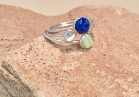 Stackable sterling silver rings, green tiger eye, lapis and moonstone sterling silver rings, gemstone rings, silver rings, stackable rings