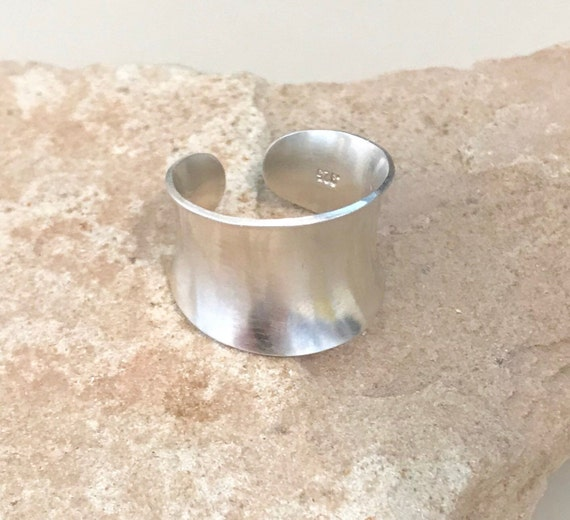 Wide sterling silver ring, anti-clastic sterling silver adjustable ring, sterling silver ring, patterned sterling silver ring, gift for her