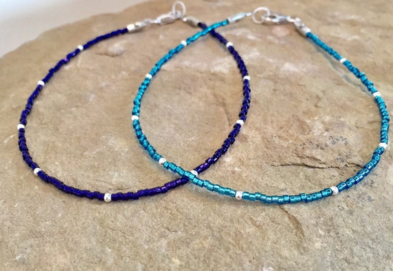Blue or purple seed bead ankle bracelet, seed bead anklet, sterling silver anklets, boho anklets, body jewelry, summer anklet, gift for mom
