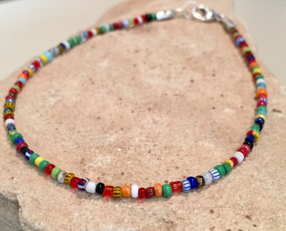Multicolored seed bead ankle bracelet, African Christmas bead ankelt, boho anklet, body jewelry, boho chic, gift for her, gift for wife