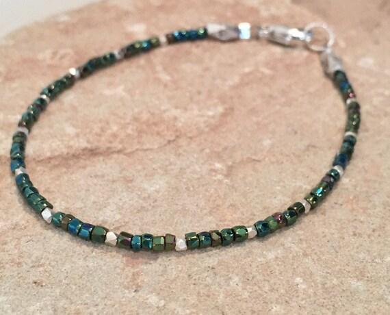 Green seed bead bracelet, iridescent bracelet, Hill Tribe silver bracelet, single strand bracelet, small bracelet, dainty bracelet, boho