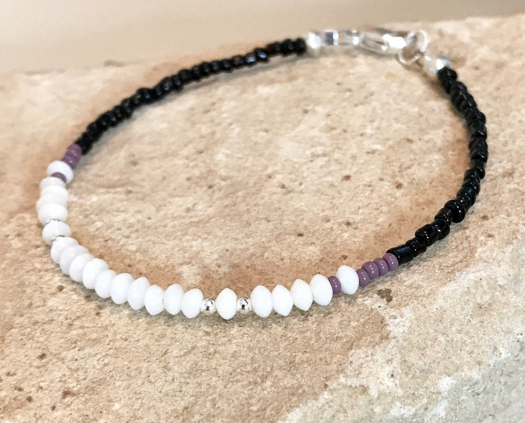 sterling silver bracelet African seed bead bracelet black and white seed bead bracelet boho bracelet gift for wife gift for her