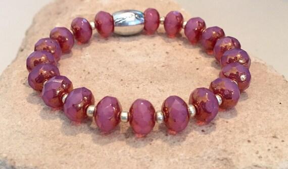 Pink bracelet, bracelet for swimmer, bracelet for athlete, Czech glass rondelle beads, stretch bracelet, gift for swimmer, elastic bracelet